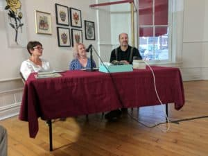 The contestants: Meg Medina, Rebecca Schinsky, and David L. Robbins